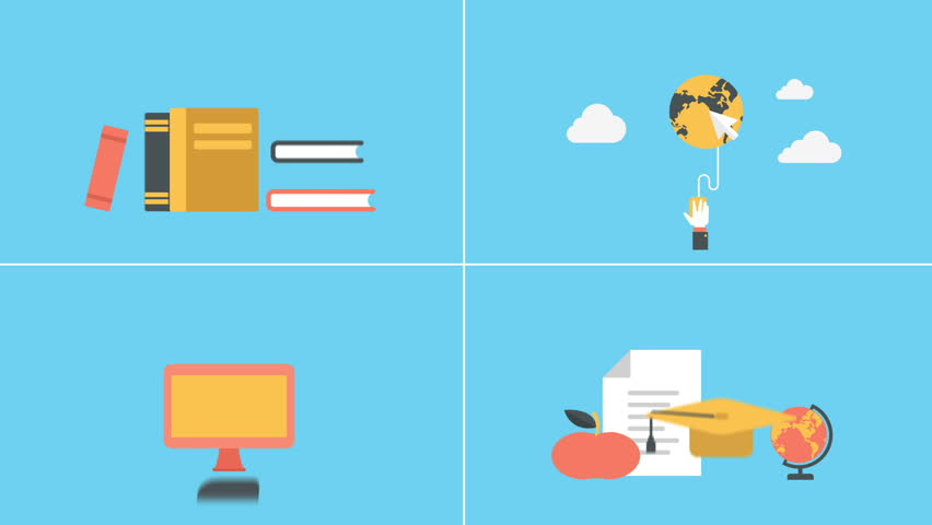 Education and e-learning in out animated flat design icons set.