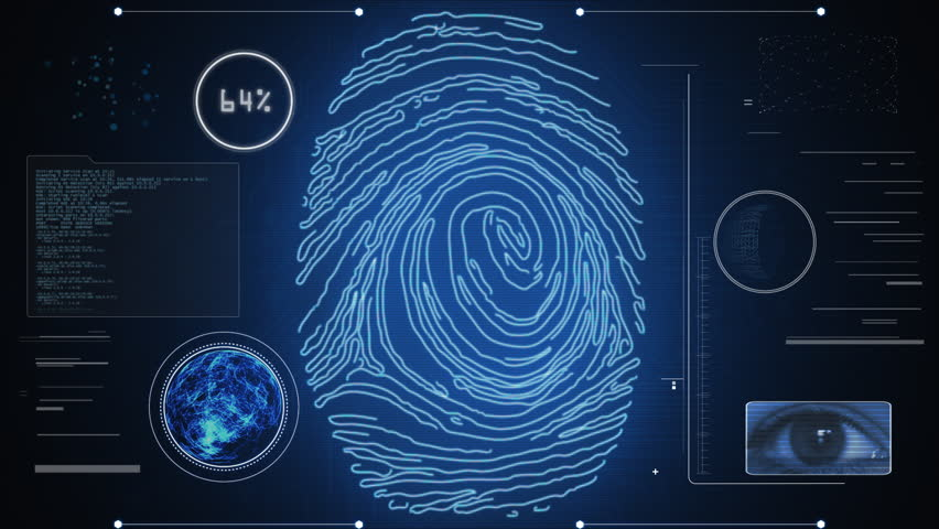 Identity scan: access permitted. Futuristic fingerprint and iris recognition