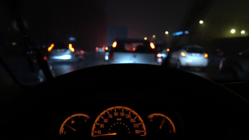 car interior night rain and road traffic jam stock footage video 24198013 shutterstock. Black Bedroom Furniture Sets. Home Design Ideas