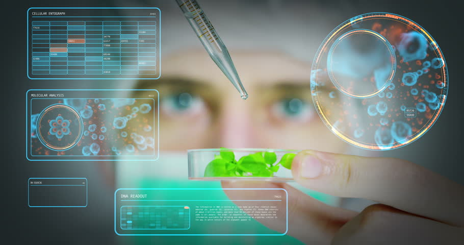 A scientist in a laboratory analyzes the soil and the plants inside  to collect the plant DNA. Concept: analysis, dna, bio, microbiology, augmented reality, biochemistry, immersive technology | Shutterstock HD Video #24201142