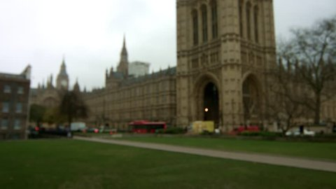 Houses of Parliament, Westminster, London. Deliberate defocussed shot to be used as a background for interviews.Wide angle. Overcast conditions. Standard broadcast location. 4K