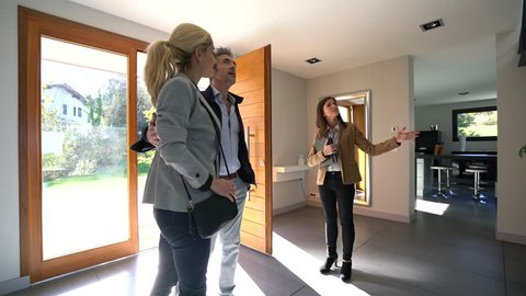 Real-estate agent presenting home to couple of clients