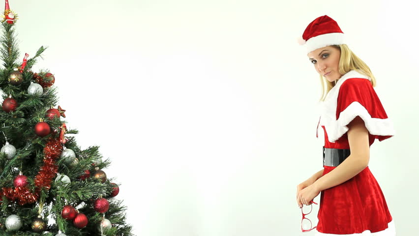 cbb24fae86d Sexy Blonde Santa with Geeky Stock Footage Video (100% Royalty-free)  2422082   Shutterstock