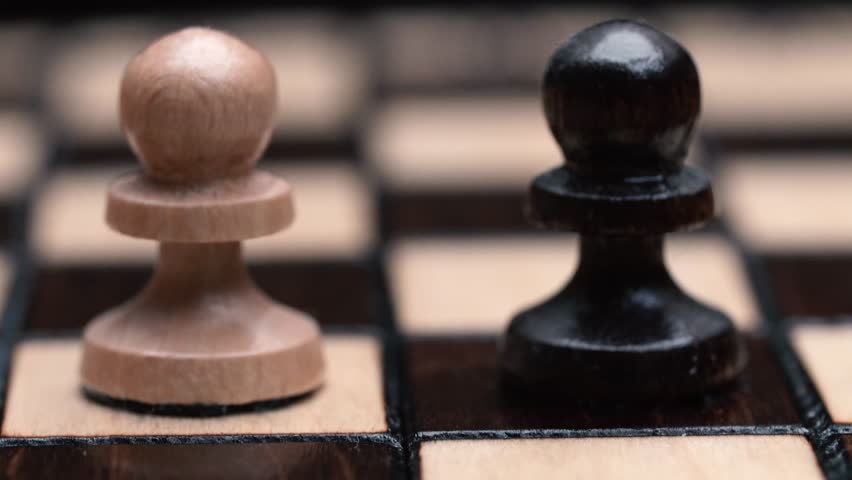 The rows of pawns macro. chess closeup, wooden chess board, business concept, black background. slide camera. Studio. Hand made chess | Shutterstock HD Video #24272762