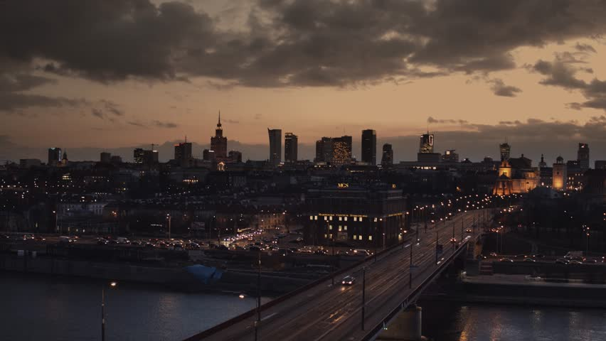 Warsaw Poland - Evening panorama