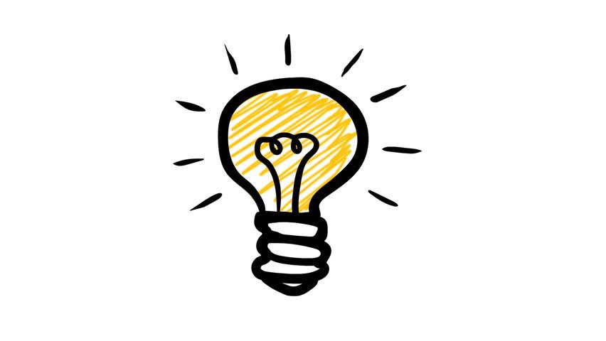 Lightbulb Idea: Hand Drawn Animated Light Bulb Invention Or Idea Concept