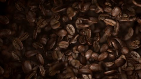 High quality video of falling coffee beans in real 1080p slow motion 1000fps