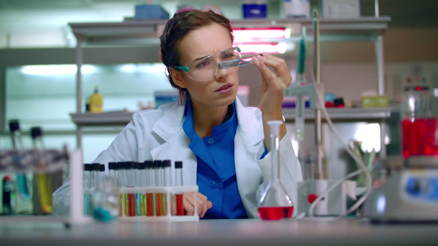 Woman Researcher In Lab. Research Scientist Working In Research ...