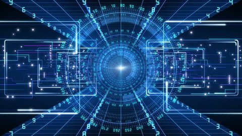 4K Futuristic technological abstract motion background, floating circuits, charts, digits, other technological elements.
