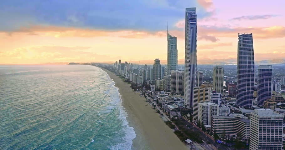 Aerial of the Surfers Paradise skyline on Queensland's Gold Coast at sunset, Australia