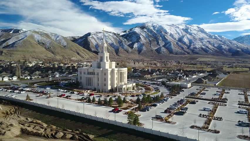 PAYSON, UTAH - FEB 2017: Aerial flight to LDS Mormon Temple Payson Utah. The Church of Jesus Christ of Latter-day Saints, LDS, Mormon Church. International Christian religion. Members 16 million.