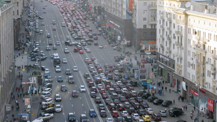 MOSCOW - MAY 15: (Timelapse View) Cars stand in traffic jam on Tverskaya Street in afternoon, on May 15, 2012 in Moscow, Russia