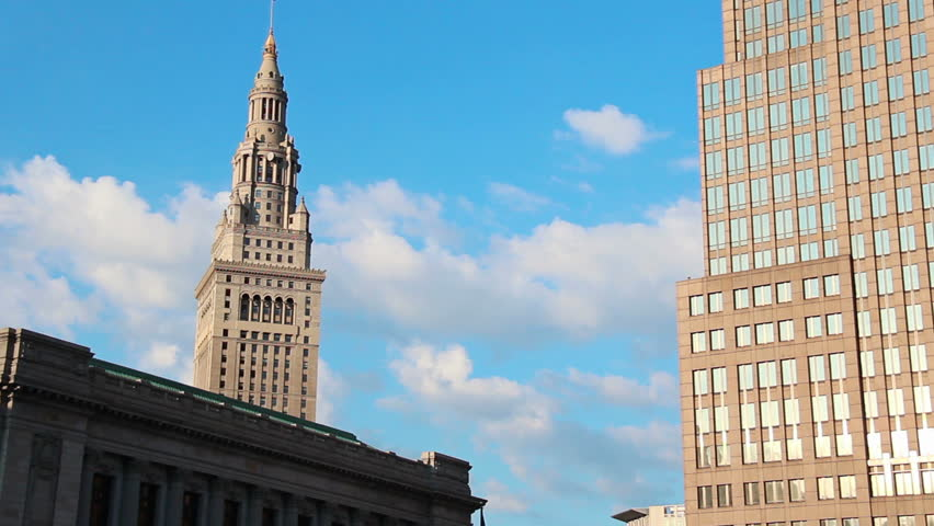 A time lapse shot of the Higbee building in Cleveland, Ohio; now the location of