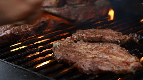 Bbq beef ribs on A grill outdoors T-Bone Steak