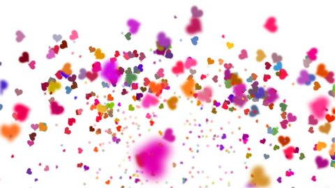 Colorful hearts confetti explosion and slow motion falling, white background