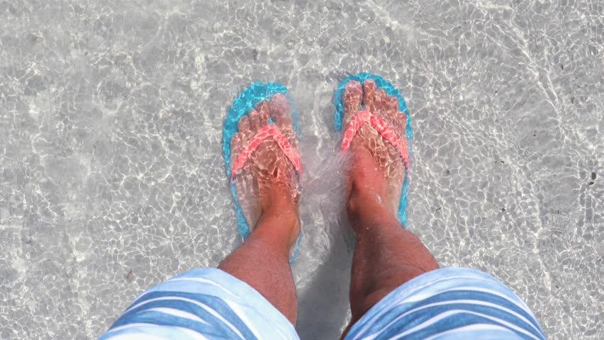 b61075485b49c Video stock a tema Male Feet On the Beach (100% royalty free ...