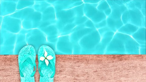 Seamless loop - Sandals by a swimming pool, summer concept, HD video