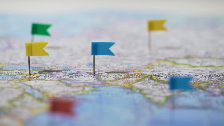 World tour route marked with pins on map travel destinations many locations marked with pins on world map global communication network hd stock footage gumiabroncs Choice Image
