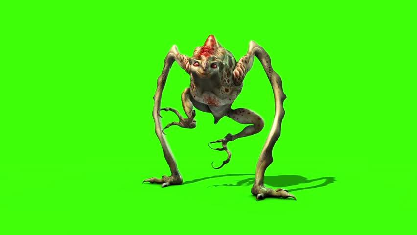 Monster Alien long Static Loop 3D Animation Green Screen