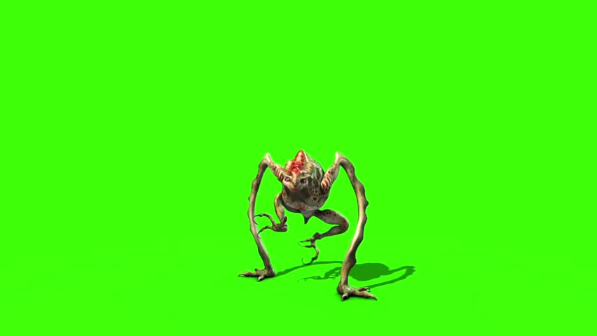 Monster Alien long Leg Attacks 3D Animation Green Screen