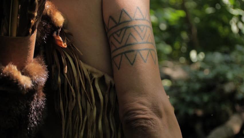 VIRGINIA - SUMMER 2015 - Reenactment, Recreation. Ancient -18th & 19th century, 1500s-1800s Native American, Eastern Woodland Indian Warrior, Powhatan hunting, warpath with bow & arrow.  Flint arrow. | Shutterstock HD Video #24403481