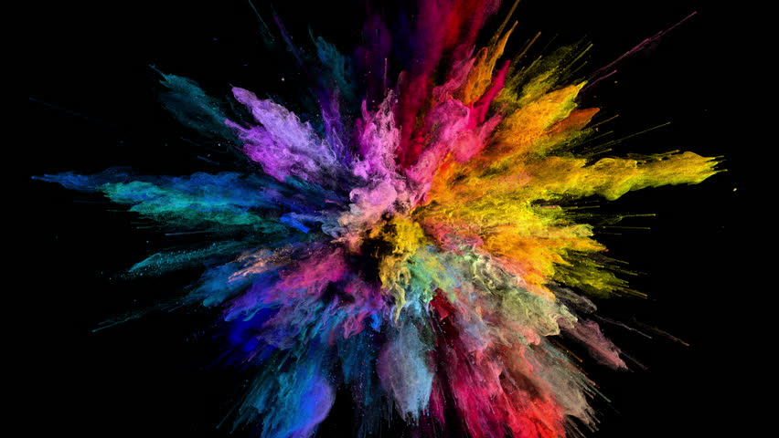 Cg animation of color powder explosion on black background. Slow motion movement with acceleration in the beginning. Has alpha matte | Shutterstock Video #24419024