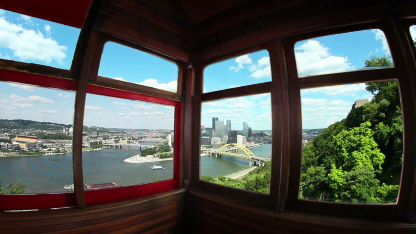 Fish eye view of looking out the windows of the Duquesne Incline in Pittsburgh, PA.