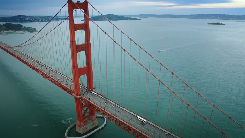 Aerial view of the Golden Gate Bridge. San Francisco, California. United States. Traffic. Shot from a helicopter. #24441167