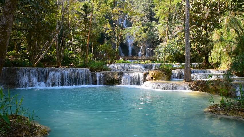 Cascade of beautiful Kuang Si waterfall (sometimes spelled Kuang Xi) or known as Tat Kuang Si Falls, South of Luang Prabang, Laos