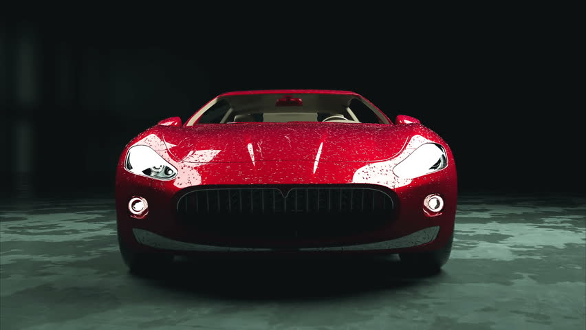 luxury red sport car with water drops. photorealistic 4K animation.
