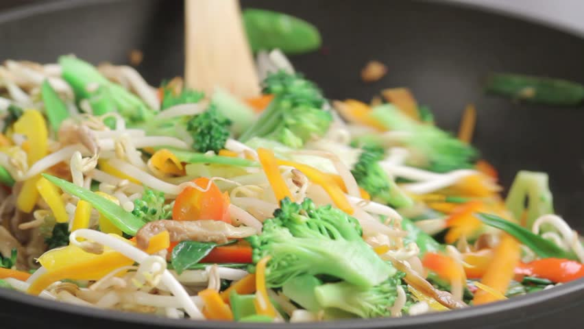 Stir-frying mixed vegetables