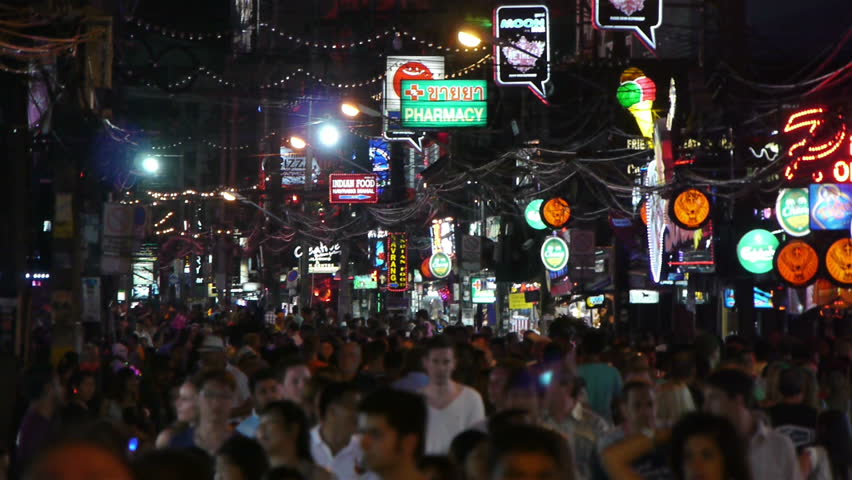 PHUKET - APRIL 21: Crowds of people on Walking Street at Patong beach on April 21, 2012 in Phuket, Thailand.