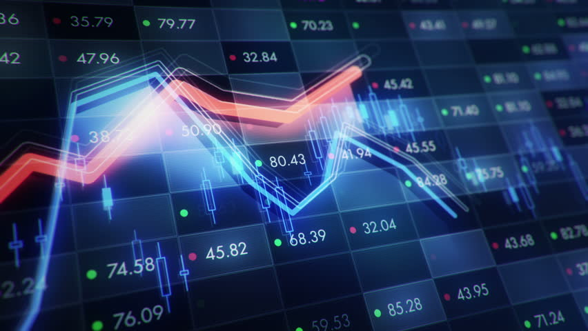 Abstract background with animation of growth graph of stock market on screen of trading board with abstract quotes tickers, words about business or technology, binary code. Animation of seamless loop. | Shutterstock HD Video #24538952