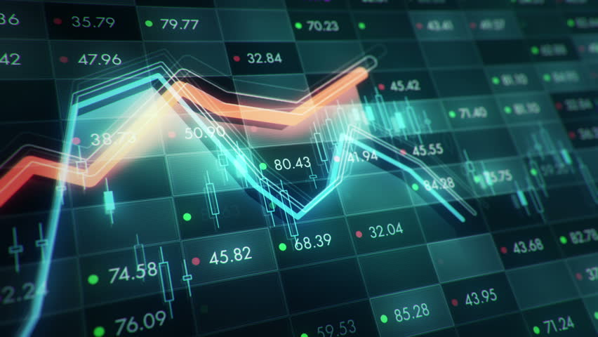 Abstract background with animation of growth graph of stock market on screen of trading board with abstract quotes tickers, words about business or technology, binary code. Animation of seamless loop. | Shutterstock HD Video #24539252