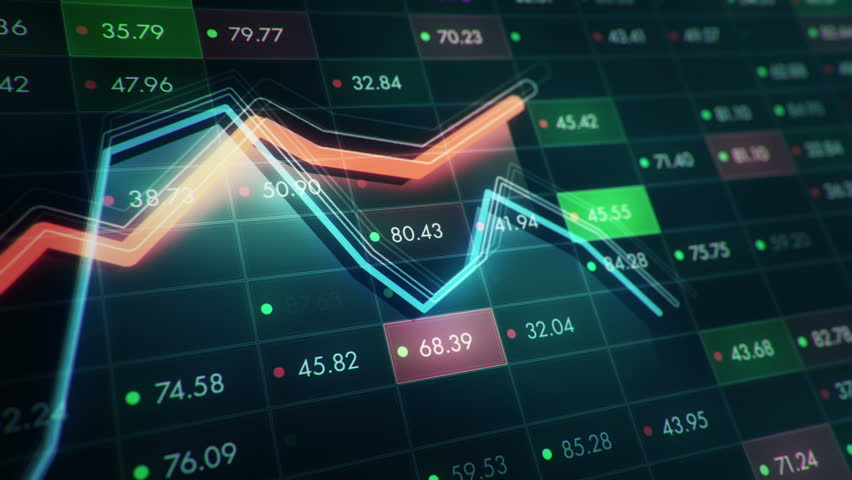 Abstract background with animation of growth graph of stock market on screen of trading board with abstract quotes tickers, words about business or technology, binary code. Animation of seamless loop. | Shutterstock HD Video #24539312