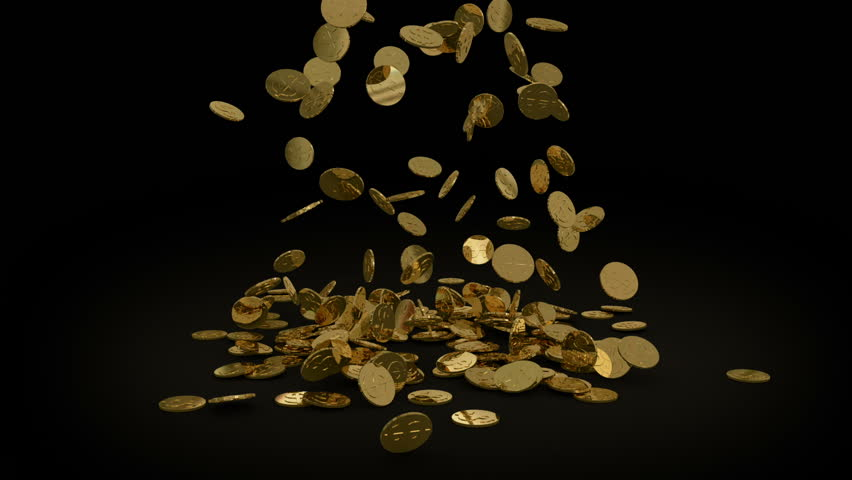 Gold Coins falling, Alpha matte included