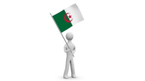 Algeria waving flag. 3d Man holding and waving Algerian flag on transparent background. Loop. Alpha channel.