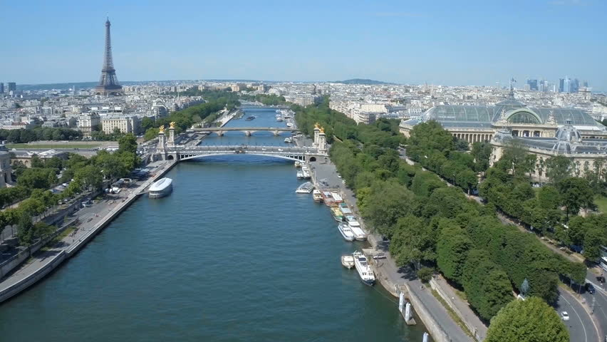 Fly over Paris with Seine river and Eiffel tower   Shutterstock HD Video #24606512