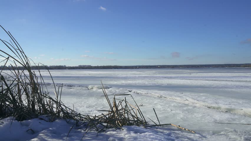 dry reed and ice on the frozen river, blue ice on the lake, The Ice On The River, Dry reeds on winter lake, Reeds in sunlight, Winter landscape, Snow covered riverbank