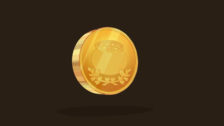 Saint Patrick 's gold coin looping animation Luma matte