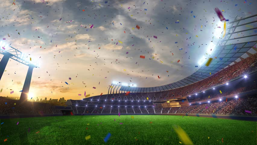 Stadium Moving lights, animated flash  with people fans. 3d render illustration cloudy sky. Confetti and tinsel | Shutterstock HD Video #24616430