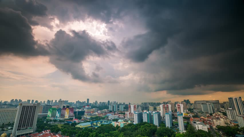Singapore stormy sunset Rooftop timelapse  | Shutterstock HD Video #24661232
