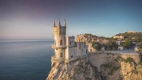 Aerial shot of the well-known castle Swallow's Nest near Yalta in Crimea