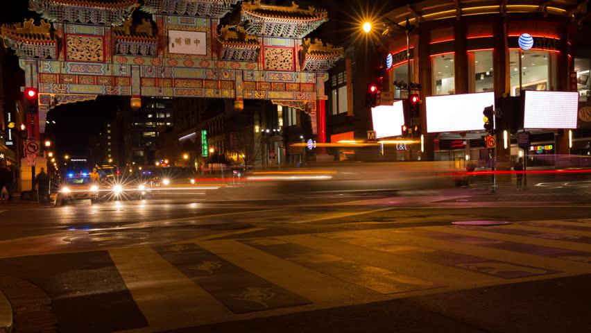 Chinatown Timelapse at Night in Washington, DC