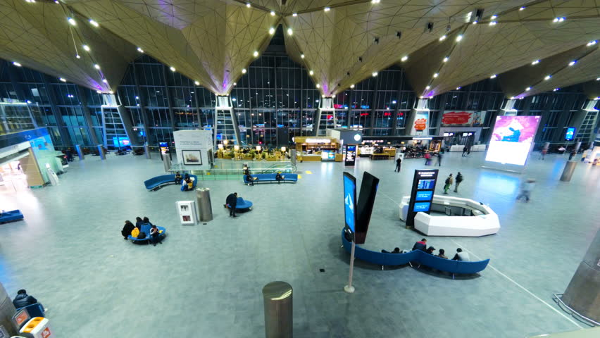 SANKT-PETERBURG, RUSSIA - DECEMBER 12, 2017: People Walking Inside The Terminal Of Pulkovo International Airport