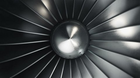 Animation of rotation turbine from turbojet airplane engine. Animation of seamless loop.