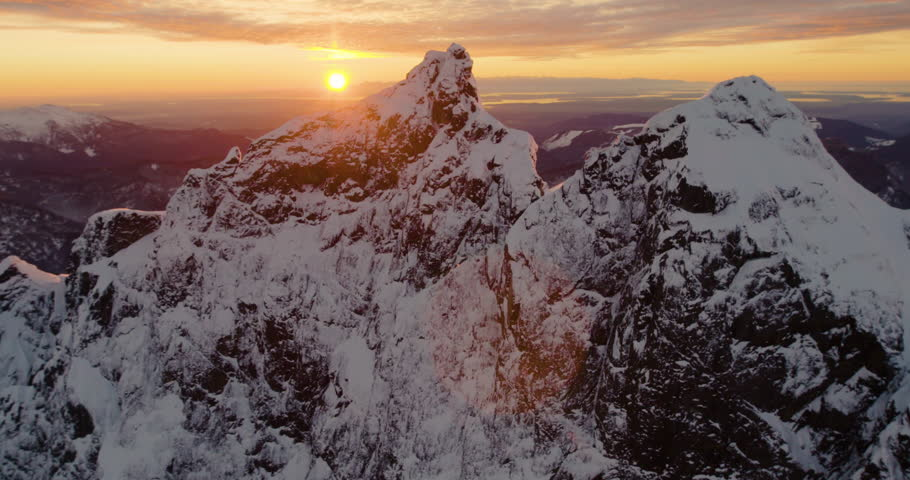North Cascades Snow Alpine Peak Sunflare Orange Amazing Sunset Lighting Ocean Mt Rainier San Juan Islands Olympic Mountains