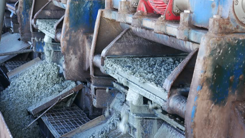 Shale shaker on an offshore oil rig separating the cutting from water based mud