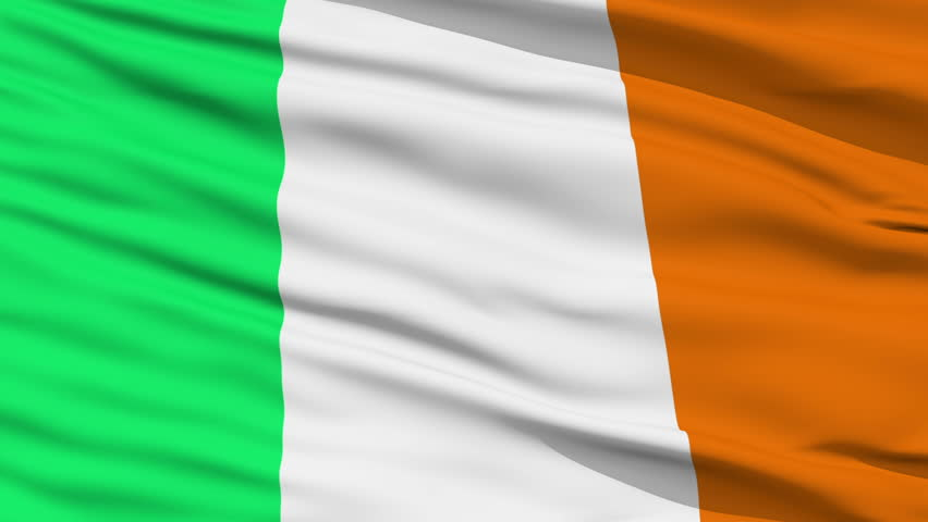 Closeup cropped view of a fluttering national flag of Ireland