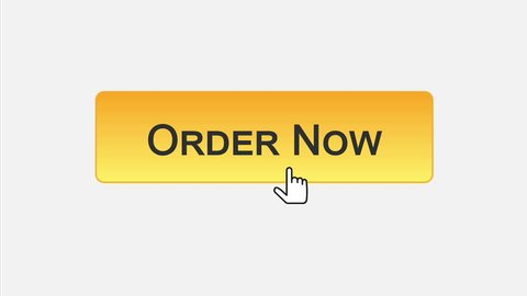 Order now web interface button clicked with mouse cursor, different colors